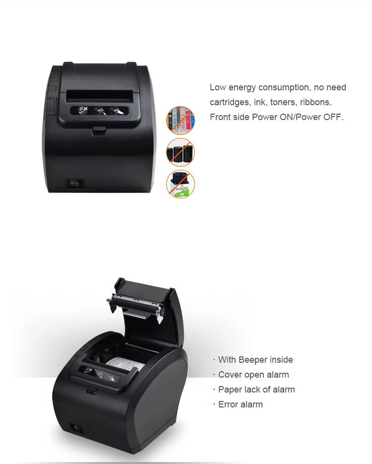 80mm thermal Receipt Printer POS Billing Printer Wireless WIFI/Bluetooth Printer Auto Cutter for Android/iOS/Windows ESC/POS