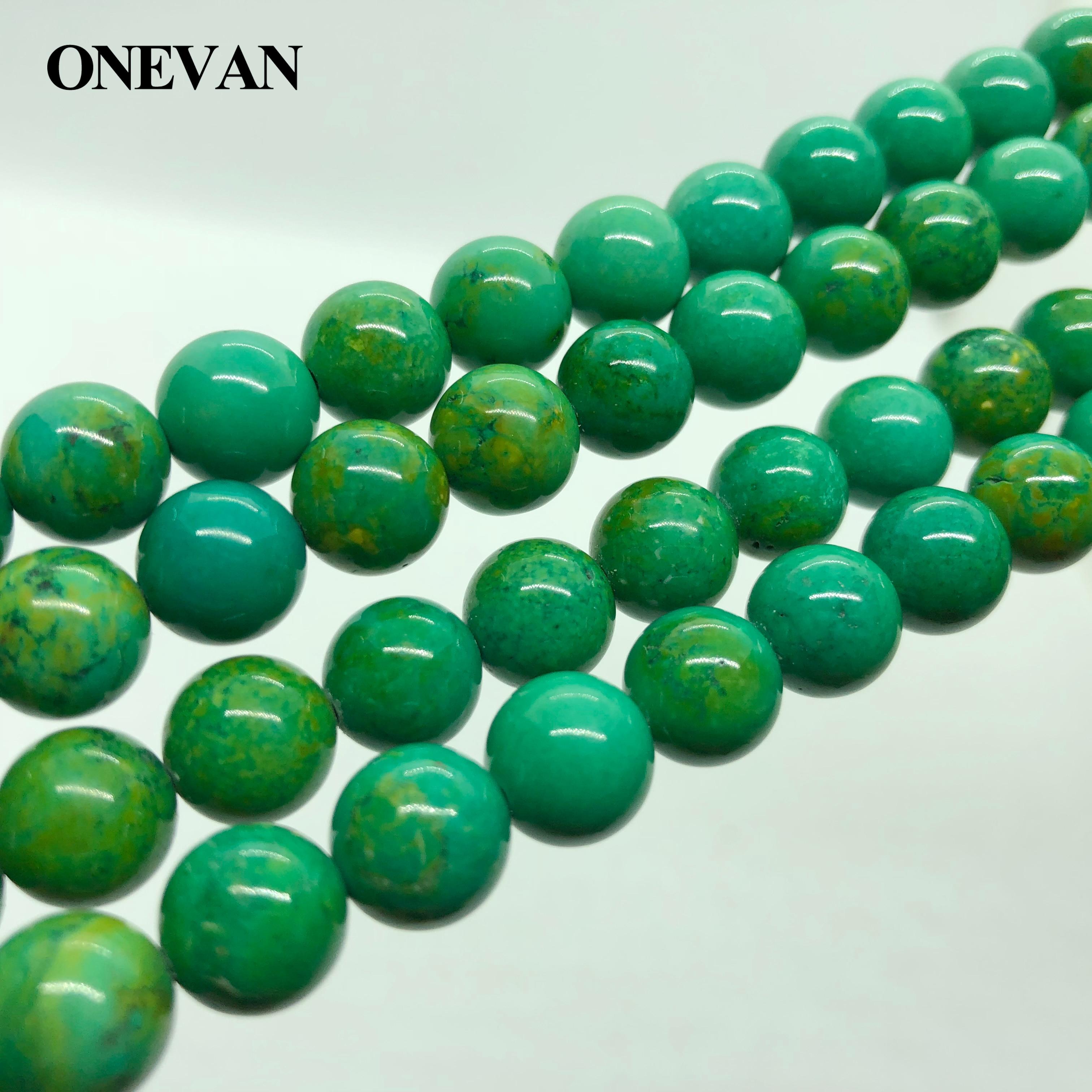 Купить onevan 10 + 02 мм круглый зеленая бирюза подвески гладкие каменные