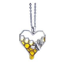 Urok moda sztuczny miód naszyjniki kobiety dziewczyna serce Honeycomb Bee wisiorek z motywem zwierzęcym Choker naszyjnik biżuteria Party prezent # BL2 tanie tanio CN (pochodzenie) STAINLESS STEEL Hearts Metal TRENDY
