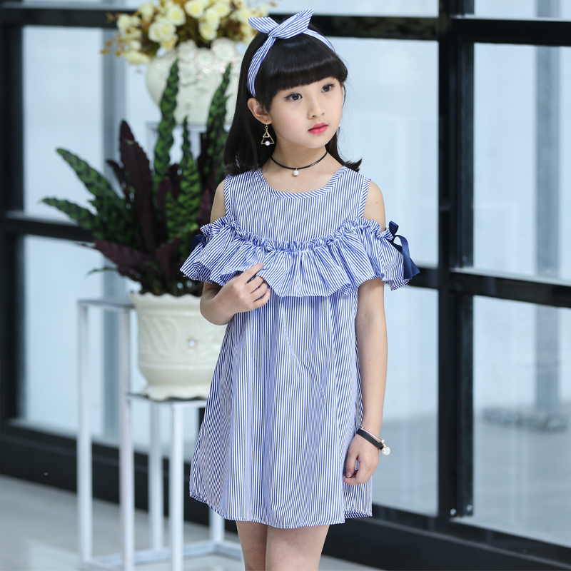 Children's Wear Girl Striped Dress Summer 2020 New Kids Princess Big Little Girl Korean Edition 12 11 10 9 8 7 6 5 Year Old