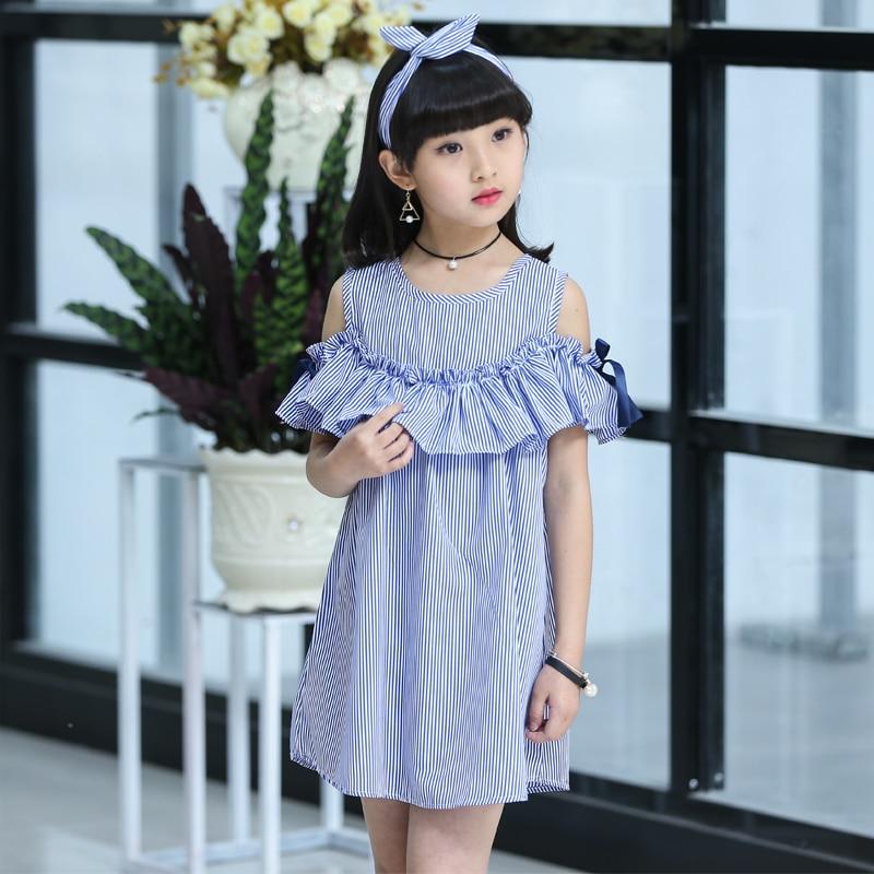 Children's Wear Girl Striped Dress Summer 2020 New Kids Princess Big Little Girl Korean Edition 12 11 10 9 8 7 6 5 Year Old