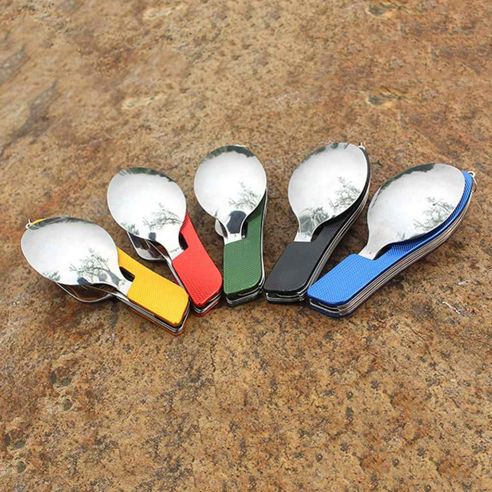 Pocket Spoon Camping Tableware Outdoor Picnic Cuchara Multifunction Tools 4 in 1