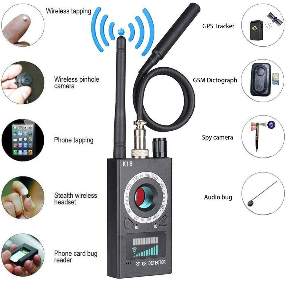 K18 Gps Jammer Spy Wiretap Bug Detector Mini Hidden Camera GPS GSM RF Tracker Camera Espia Sound Signal Spy Finder Detector