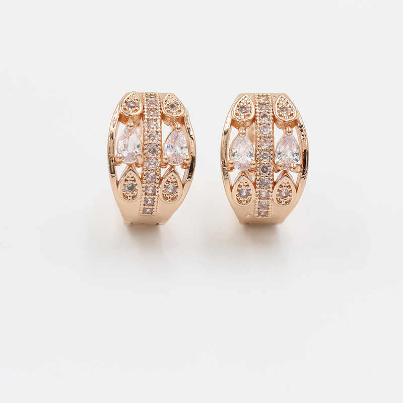 Vik Dolly New Luxury Wedding Earrings Women's Fashion Party Accessories 585 Rose Gold Golden Micro Wax Inlaid Natural Zircon Dro