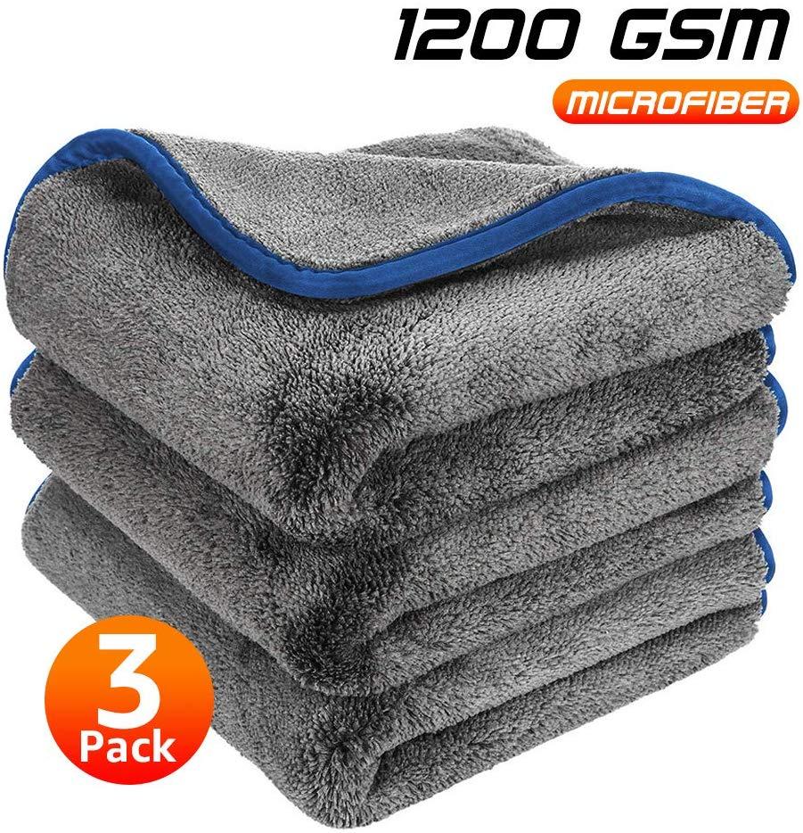 1200gsm grosso lavagem de carro microfibra toalha de limpeza de carro secagem detalhando pano de polimento absorvente trapos para a cozinha do carro