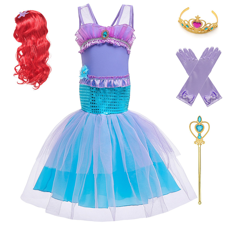 Little Mermaid Cartoon Dresses For Girls Birthday Party Fantasy Children Cosplay Party Clothes Princess Ariel Halloween Costume
