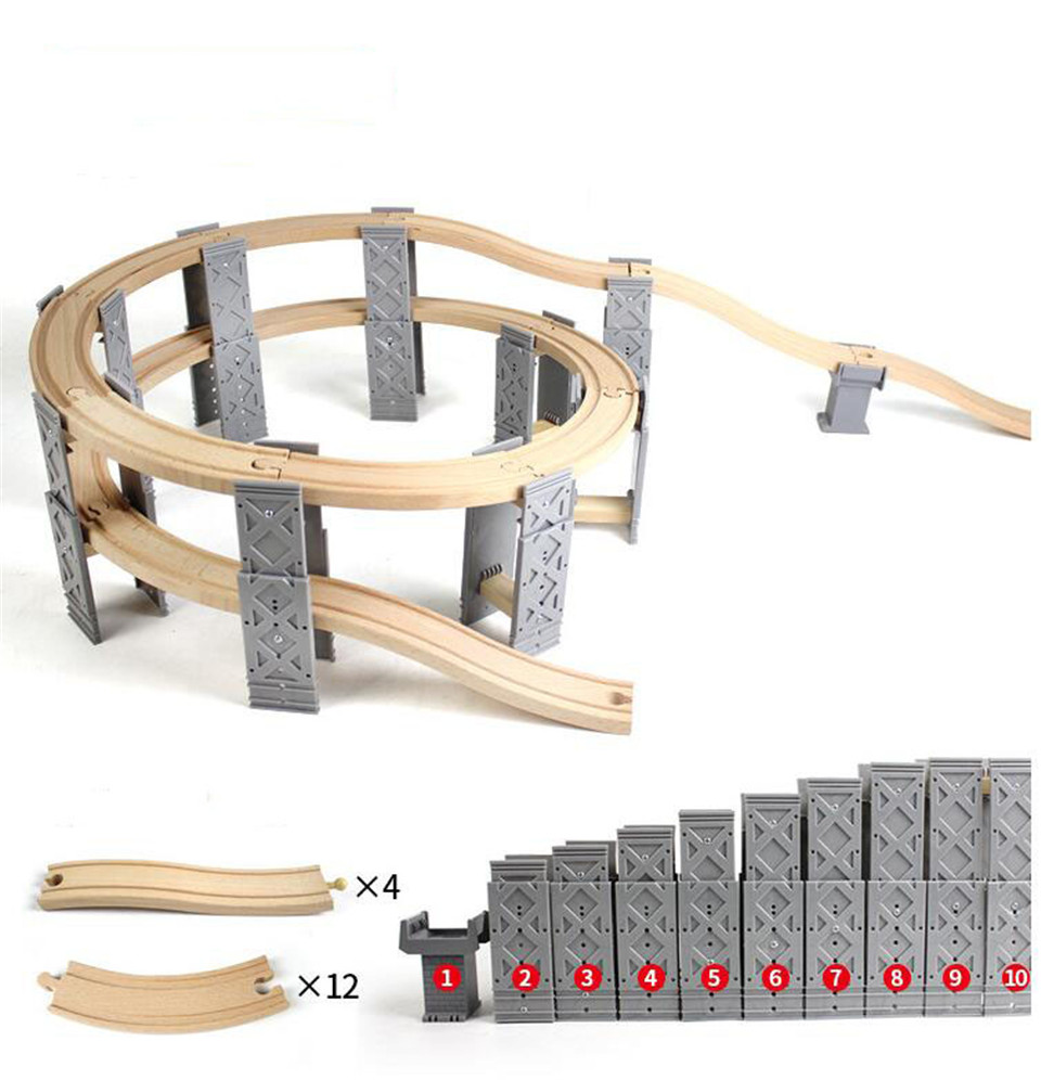 Spiral Track Bracket Set Viaduct TRACK Wooden Track Toy Train Fit For BRIO Toy Car Truck Locomotive Engine Railway Toys