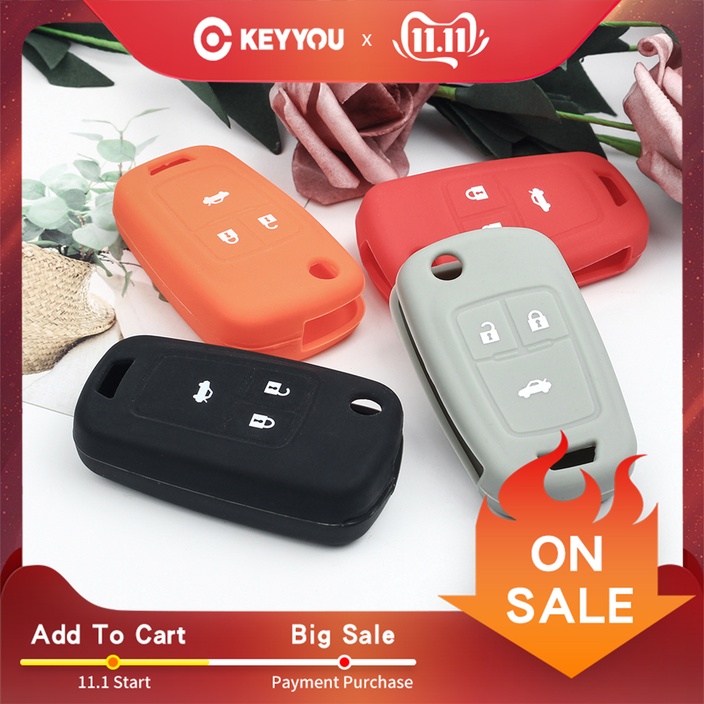 KEYYOU Skin Silicone Car Key Cover Case Shell Holder Fob For Chevrolet Cruze AVEO SAIL TRAX MALIBU CAPTIVA 3 Buttons Flip Key