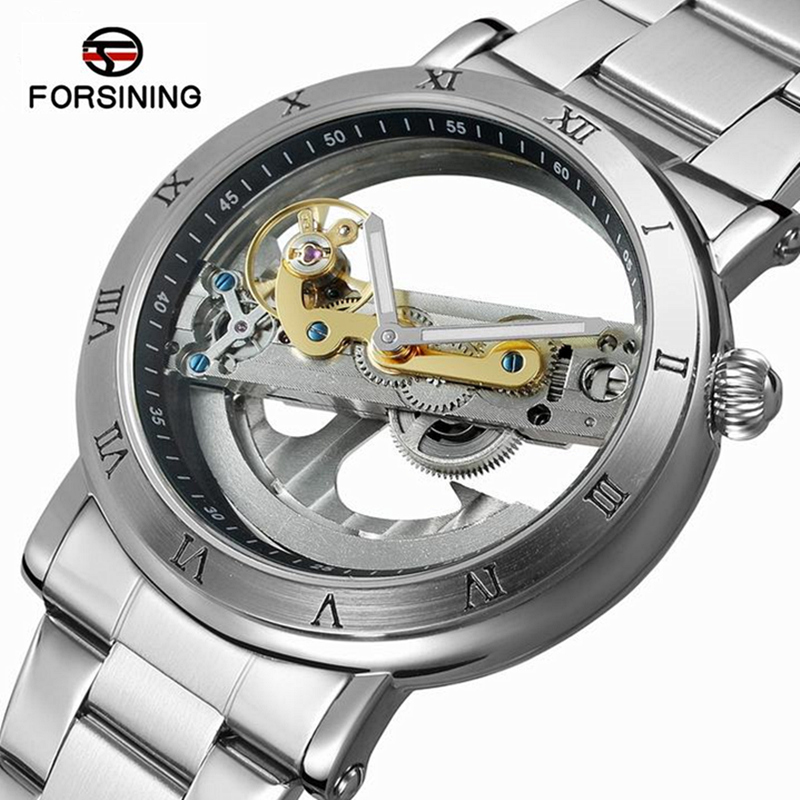 FORSINING Men's Watch Wristwatch Transparent Case Wristwatch Top Brand Waterproof Mechanical Watches Reloj Available Strap Homme|Mechanical Watches| |  - title=