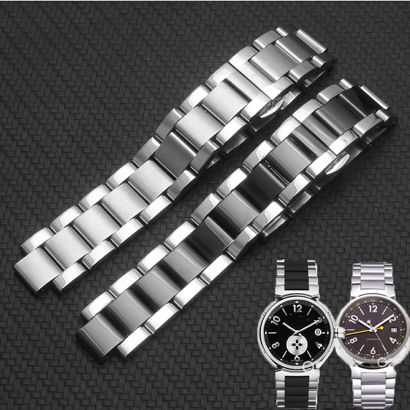 Shengmeirui Solid Stainless Steel Bracelet FOR Louis Vuitton Men And Women Butterfly Buckle Mouth Watch Chain 18*10mm 20*12mm