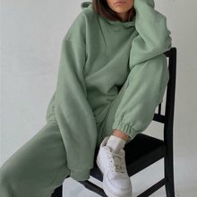 Duas peças conjuntos de treino de lã casual feminino oversized com capuz manga longa feminino com capuz terno de inverno sólido calças esportivas senhora conjunto