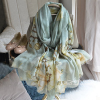 Magnolia Blossoms Chinese Style Classic Autumn and Winter Elegant Warm 100% Cashmere Scarf Shawl