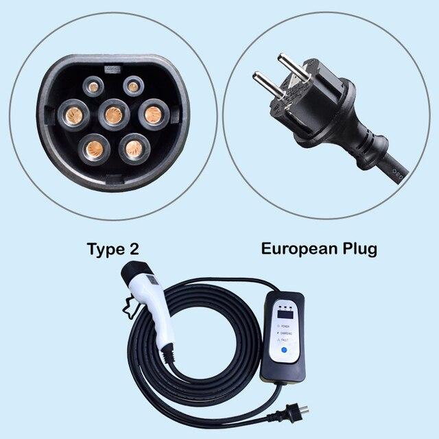 Chargeur ev type 2 pour voiture électrique iec62196 Schuko 5.5M ev câble de charge chargeur portable niveau 2 10A/13A/16A réglable