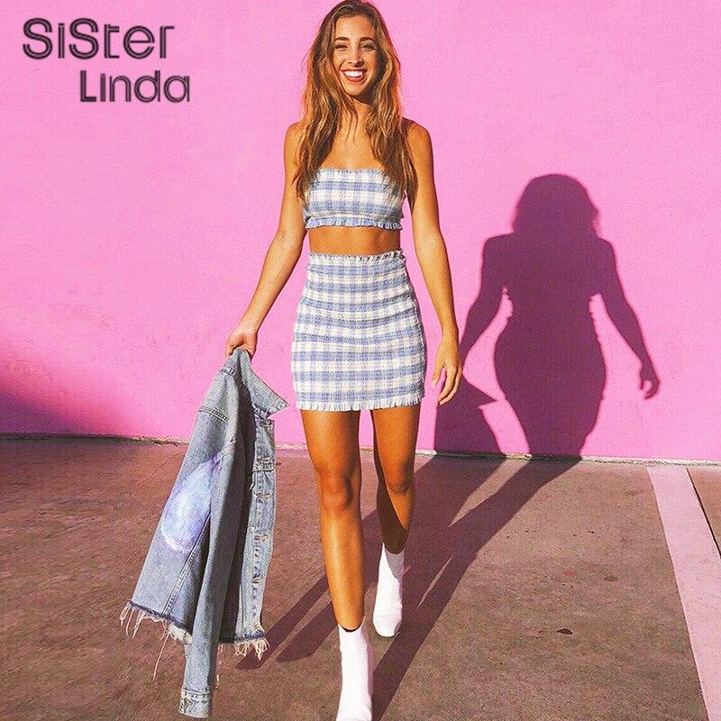 Sisterlinda Women Light Blue Lattice Wrapped Chest Short Skirts Womens Sleeveless Top Short Skirt Bodycon Female 2Piece Set