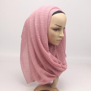 Image 4 - 2020 New Summer Ladies Gold Muslim Crinkle Wrinkle Glitter Shimmer Hijab Scarf Shawl Women Pleated Islamic Arab Head Scarves
