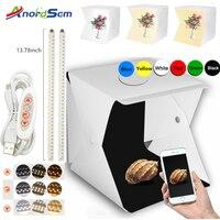 Anordsem-caja de luz LED plegable para estudio fotográfico, Softbox portátil con brillo ajustable para cámara DSLR, 40x40, 2 unidades