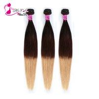 Ms Cat Hair 1B/4/27 Ombre Brazilian 3 Bundles Straight Hair Weave Bundles Remy Human Hair Extensions Color 3 Bundle Deals