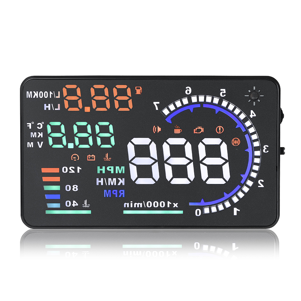Hot Selling A8 5.5 inch Car Digital Speedometer Windshield Projector Overspeed Alarm HUD OBD2 Head-Up Display