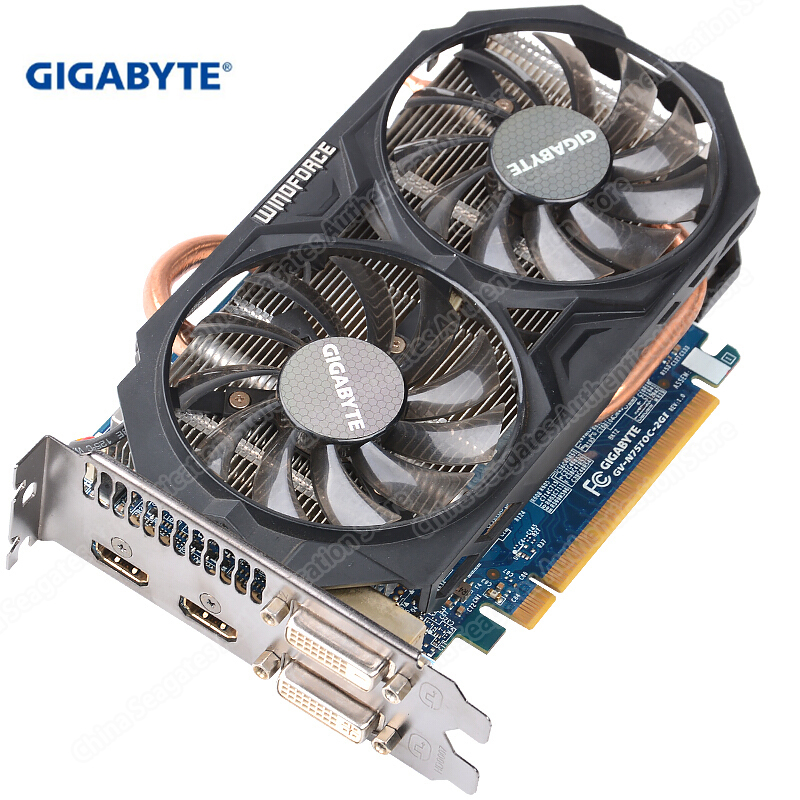 GIGABYTE Graphics Card GTX 750 Ti 128 Bit WINDFORCE 2X Video Card With NVIDIA GeForce Gtx 750 Ti GPU 2GB GDDR5 For PC Used Cards