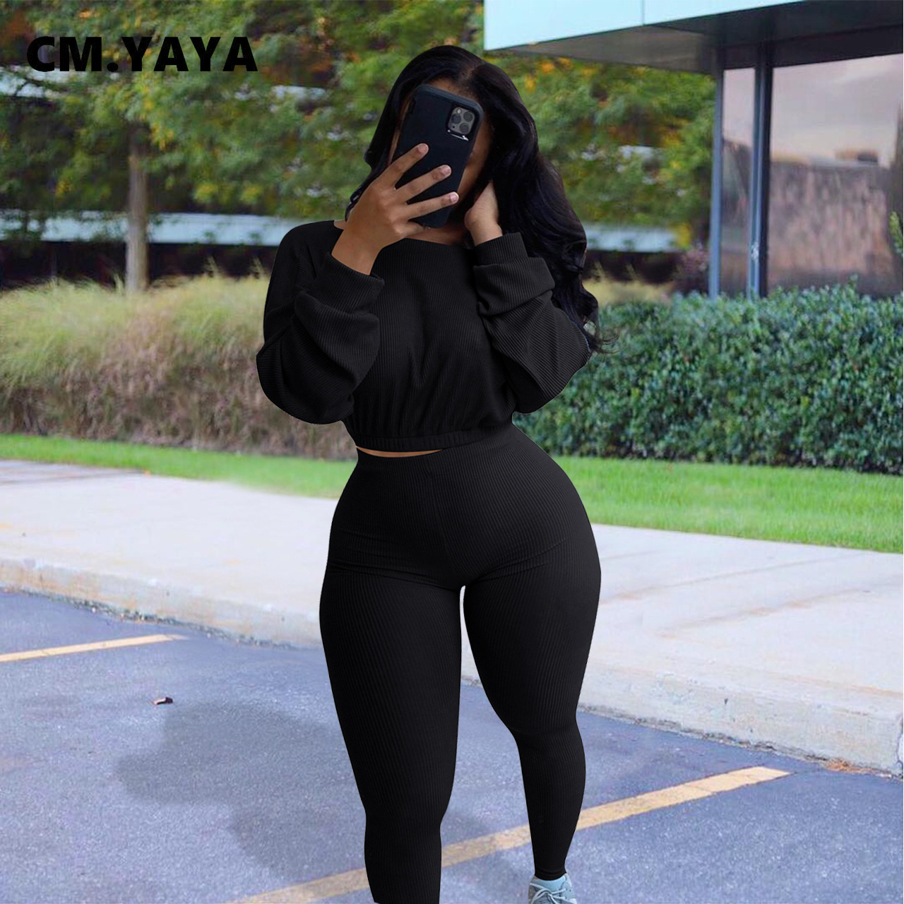 CM.YAYA Knitted Ribbed Women's Set Long Sleeve Sweater Top Pencil Pants Suit Active Wear Tracksuit Two Piece Set Fitness Outfits 5