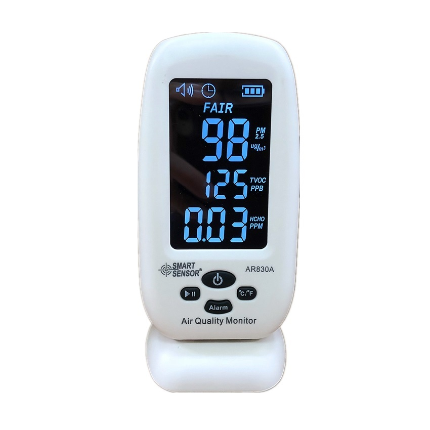 AR830A  5 In 1 LCD Air Quality Monitor Indoor Pm2.5 Detector Formaldehyde Detector Thermometer Hygrometer TVOC HCHO Gas Analyzer