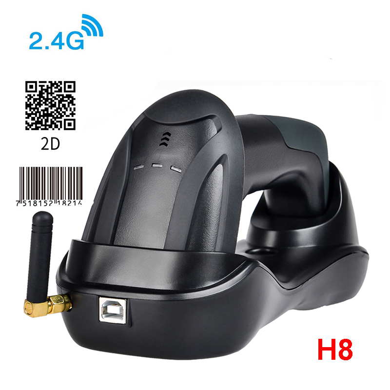 H6 Wirelress Barcode Scanner And RD-H8 1D/2D QR Bar Code Reader PDF417 for for POS and Inventory image
