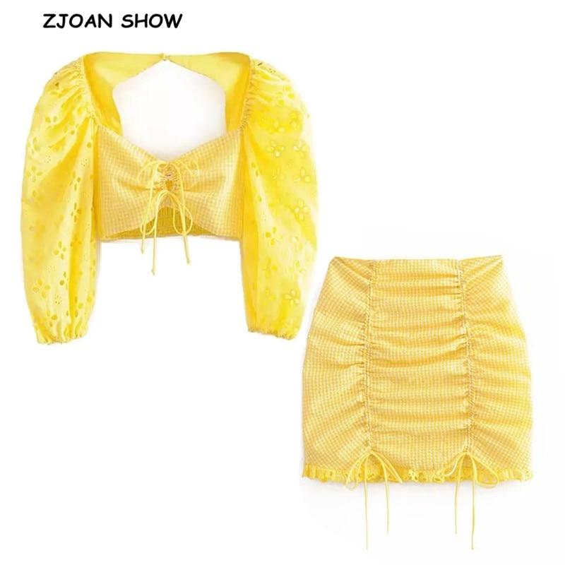2019 New Yellow White Plaid Short T-shirt Crop Top Sexy Women Hollow Out Lace Hem Mini Short Skirt Half Sleeve Tops 2 Pieces Set