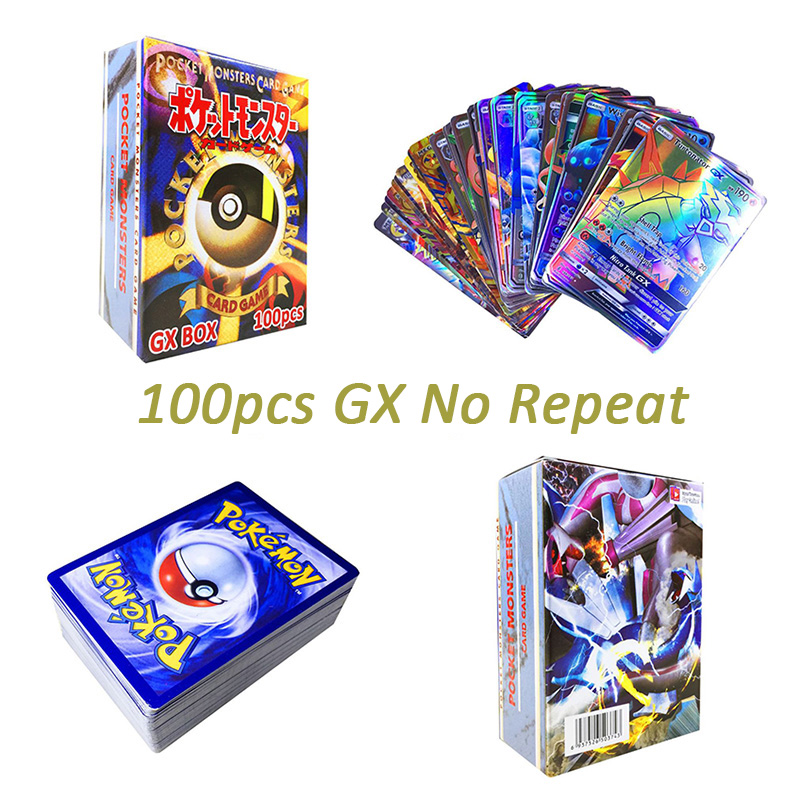 Original Takara Tomy Pokemon Cards Pokecard Shining Cards 100pcs GX No Repeat Game Collection Cards