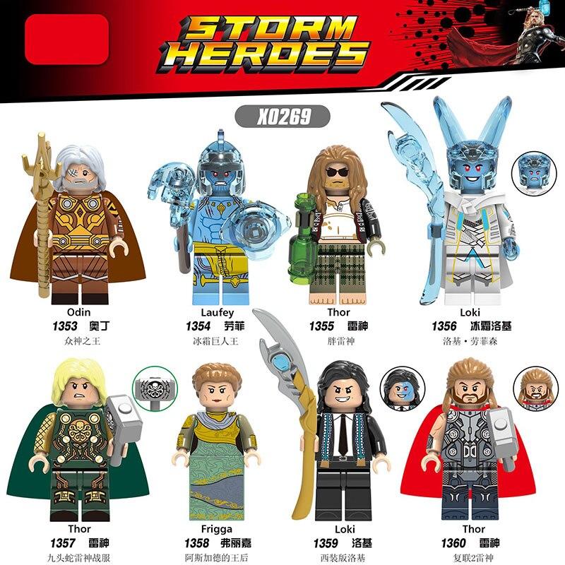Marvel Avengers Super Heroes Bricks Odin Laufey Thor Loki Frigga  Building Blocks Figures Toys For Children X0269