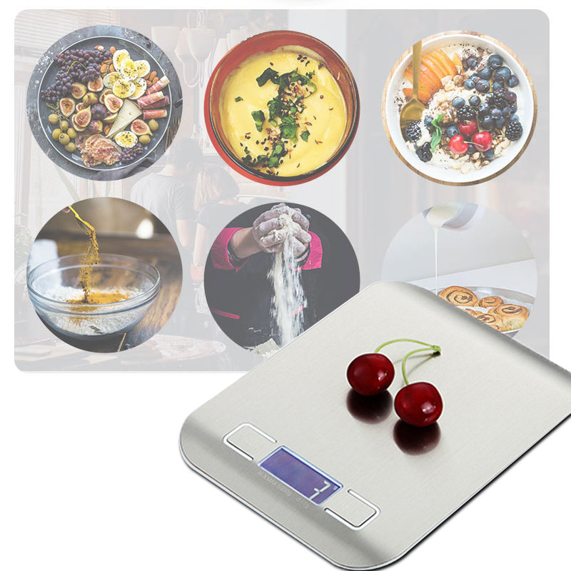 5KG / 10KG Electronic Kitchen Scale Digital Food Scale Stainless Steel Weighing Scale LCD High Precision Measuring Tools New image