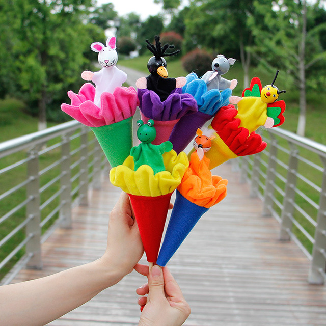 6Pcs/Set Retractable Smiling Clown Toy Doll Funny Telescopic Hide-and-Seek Plush Doll Toy Cone Toy Children Educational Toy 2