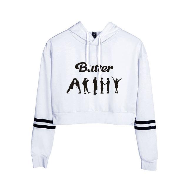 BTS BUTTER CROP TOP HOODIE (5 VARIAN)