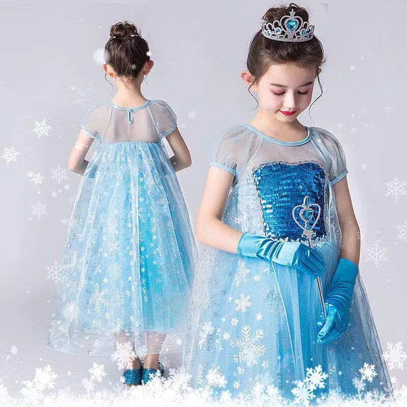 Girl Princess Elsa Dress Child Costume Crown Gloves Magic Wand Wig Cosplay Halloween Costume Kids Party Dress