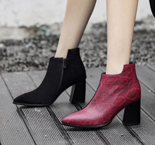 Plus Size 34-48 Fashion Mixed Colors Thick Heel Pumps Martin Boots Square Toe Ankle Womens Shoes Lgck Sexy