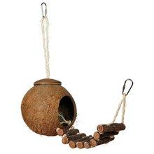 2 tipos lindo diseño cómodo cáscara de coco Natural Nido de Pájaros tamaño pequeño periquitos y mascotas Finche Gorriones jaula con escalera