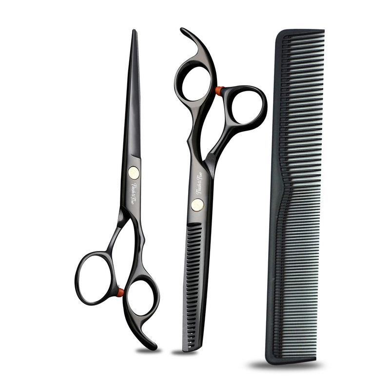 Professional 6 Inch Black Hair Scissors Set Cutting Barber Salon Haircut Thinning Shears Hairdressing Scissors