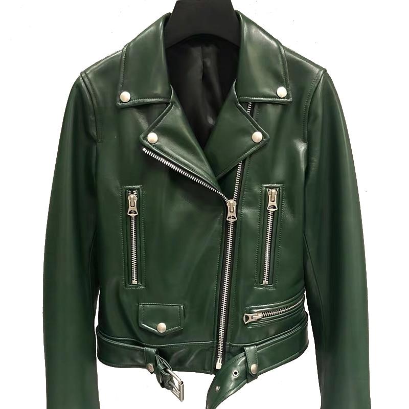 Genuine Leather Jacket Women Ladies Classic Real Lamb Shkin Overcoat Autumn Real Sheepskin Leather Jackets Female With Belt