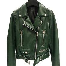 革のジャケットの女性レディースクラシックリアルラムshkinオーバーコート秋リアルシープスキンレザージャケット女性ベルト