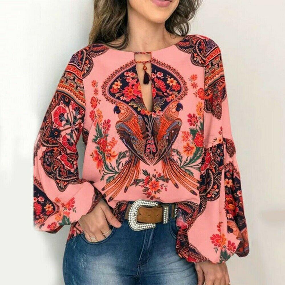 Lantern Blouse V-Neck Boho Tops Women S-2XL Sleeve Floral T Shirt Oversize Long