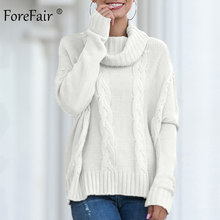 Forefair Turtleneck Sweater Women 2019 New Knitted Pullovers Plus Size Long Casual Loose Warm Solid Khaki White Sweater(China)