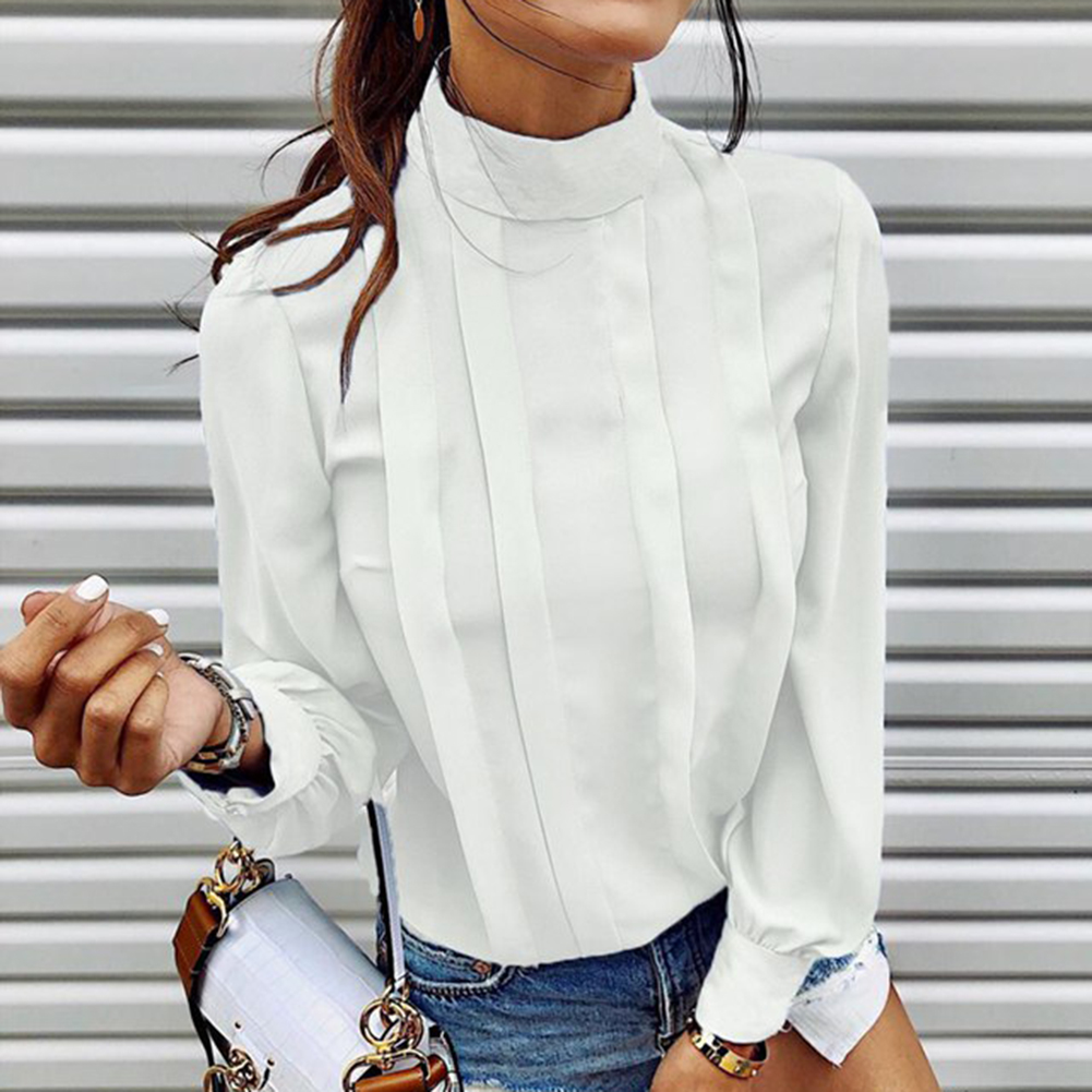 New Women Blouses Slim Bottoming Long-sleeved White Shirt  Casual Shirts Blouse Plus Size XL