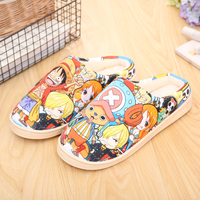 Drop Ship Winter Home Slippers Luffy Men Women Slippers Plush Japanese Cosplay Cartoon Slippers Anime Naruto One Piece