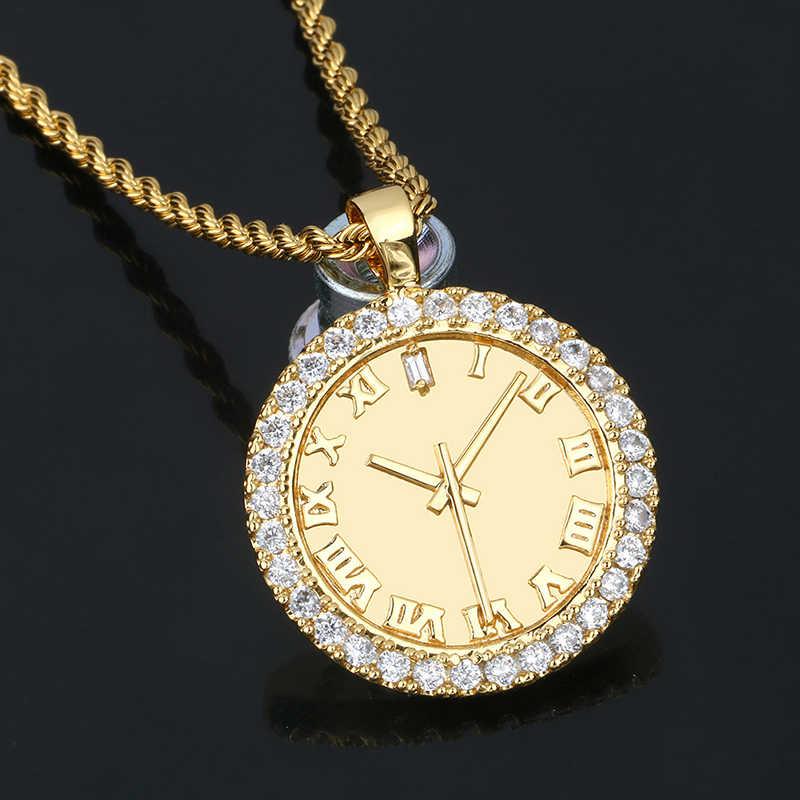 אישיות זירקון חיוג תליון היפ הופ AAA CZ אבנים בלינג אייס מתוך שעון צורת עבור גברים של אופנה שעון ריינסטון תכשיטי מתנה