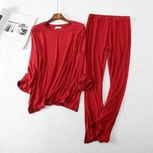 Image 4 - Pyjama à manches longues, confortable, pantalon en coton pour femme, ensemble vêtements de maison automne hiver, collection décontracté