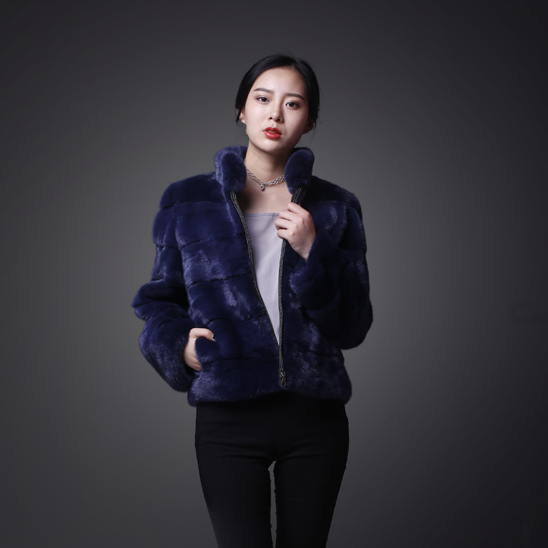 Genuine Fur Coats Women Winter Autumn Warm Thick Real Mink Fur Jackets Short Slim Elegant Female Outwear MF281