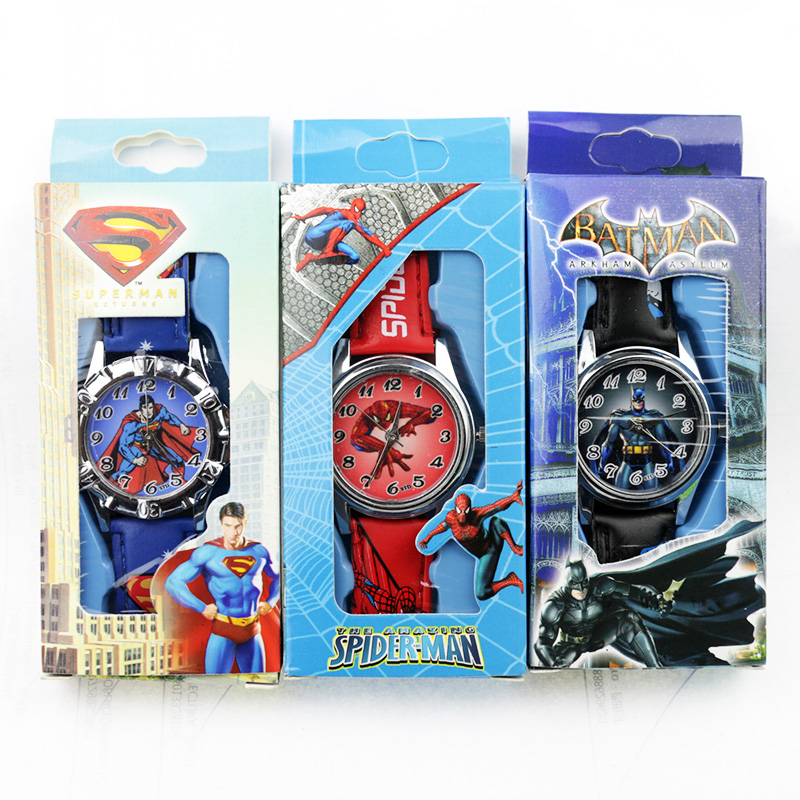 Children's Cartoon Spiderman Kids Watch Batman Supreman Child Watch Boys Leather Strap Quartz Watch With Box Reloj Nino Boy Gift