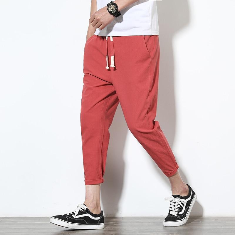 Summer Men's Linen Pants Cotton Hip Hop Ankle-Length Men Pencil Pants Solid Color Breathable Comfort Fashion Linen Pants Men K35