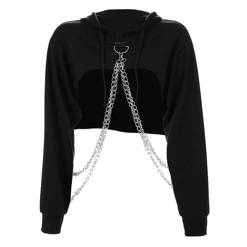 Women Autumn Hip Hop Long Sleeve Cute Solid Color Off-shoulder Casual Loose Hooded Short Sweatshirt With Metal Chain