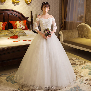 1PCS  Lace Long-sleeved Princess Wedding Ant Service New Lace Wedding Dress Tidily Married