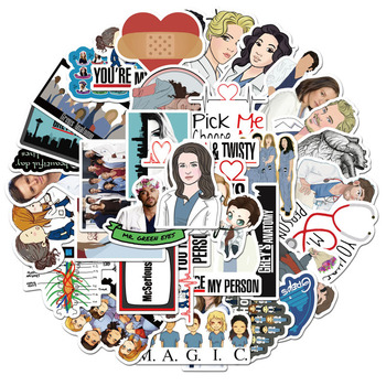 50 Pcs/Set TV Show Greys Anatomy Funny PVC Scrapbooking For Luggage Laptop Phone Decals DIY Album Stickers Doctors Gif - discount item  9% OFF Stationery Sticker